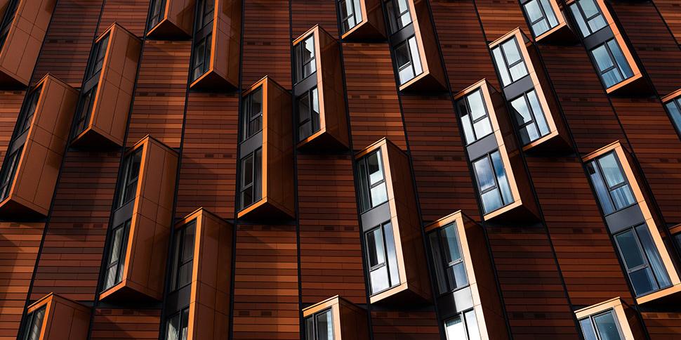 Fachada de madera y muchas ventanas en diseño de paisaje arquitectónico