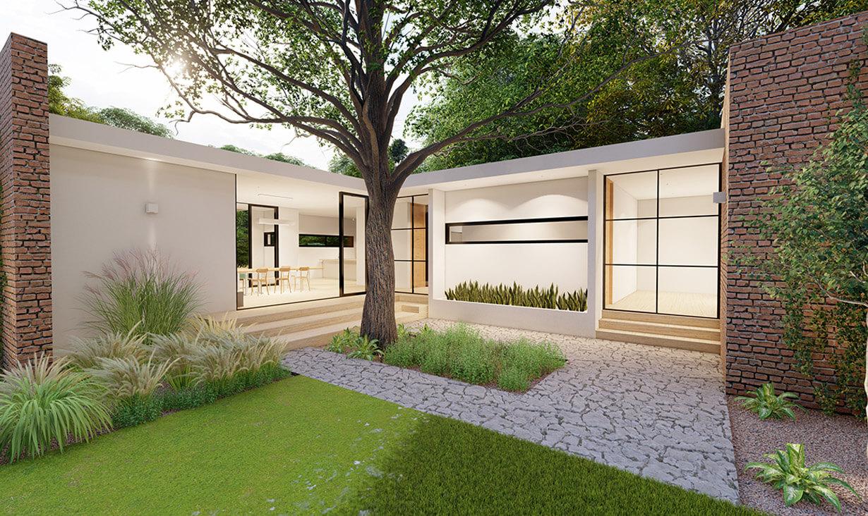 Ventanas en fachada y jardín de plantas de Casa Tabique, una casa con acabados minimalistas, diseñada y construida por A4 Arquitectura