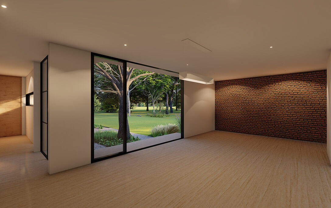 Techo y diseño de interiores de Casa Tabique, una casa con acabados minimalistas, diseñada y construida por A4 Arquitectura