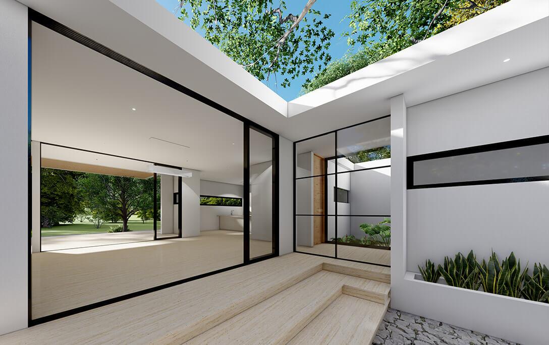Ventanas y puerta en fachada de Casa Tabique, una casa con acabados minimalistas, diseñada y construida por A4 Arquitectura