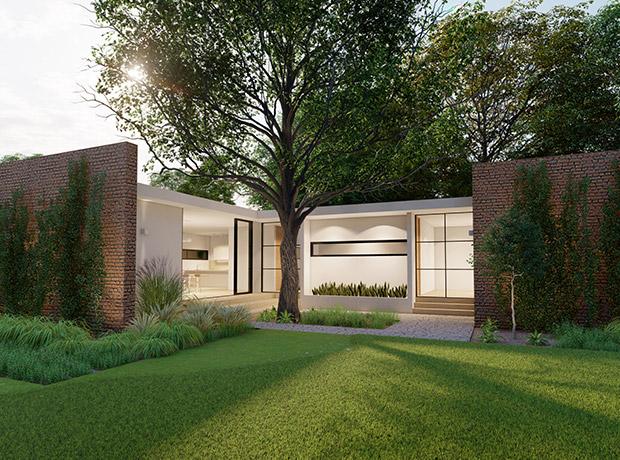 Fachada y jardín con árboles de Casa Tabique, una casa con acabados minimalistas, diseñada y construida por A4 Arquitectura