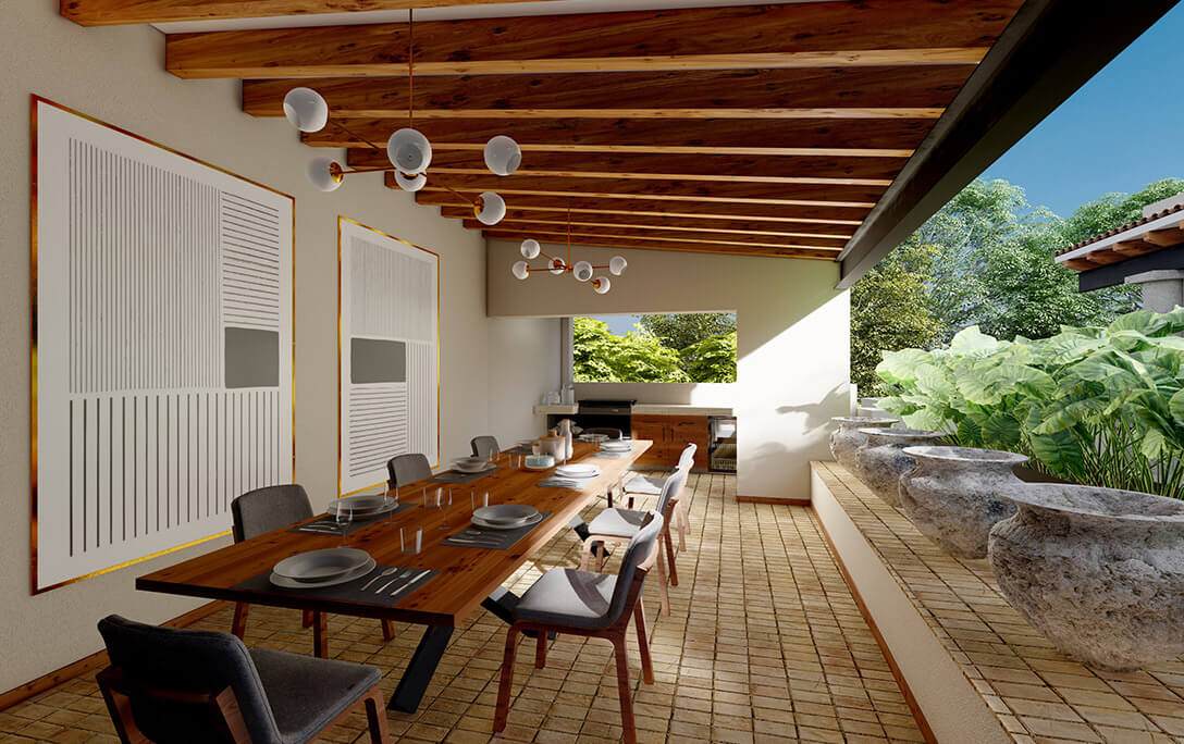 Comedor con sillas y vajilla, así como lámparas de diseñador en el proyecto Padre Rubén, donde se realizó diseño de interiores con acabados campestres, por A4 Arquitectura