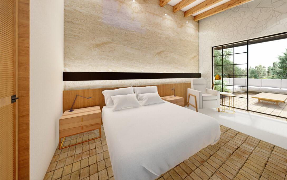 Recámara con cama y mesa en terraza en el proyecto Padre Rubén, donde se realizó diseño de interiores con acabados campestres, por A4 Arquitectura