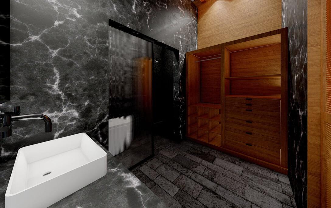 Lavabo y cómoda en baño en el proyecto Padre Rubén, donde se realizó diseño de interiores con acabados campestres, por A4 Arquitectura