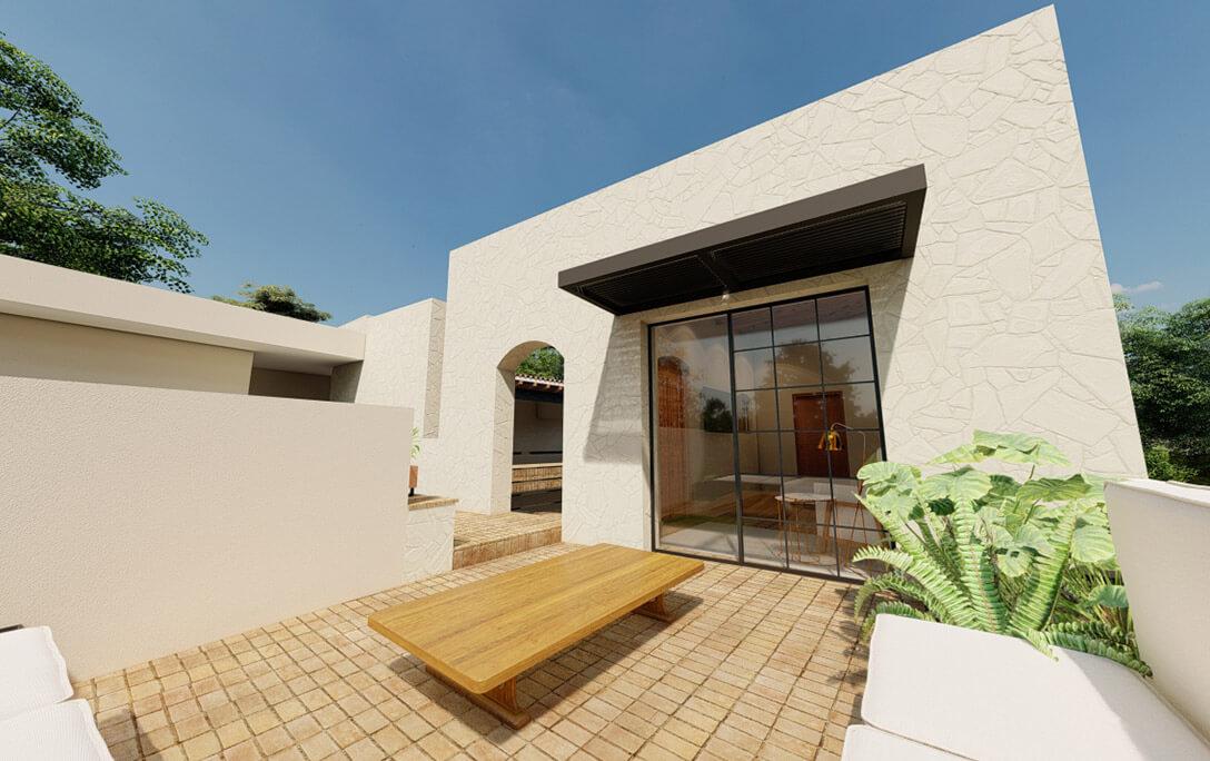 Mesa en terraza roof garden en el proyecto Padre Rubén, donde se realizó diseño de interiores con acabados campestres, por A4 Arquitectura