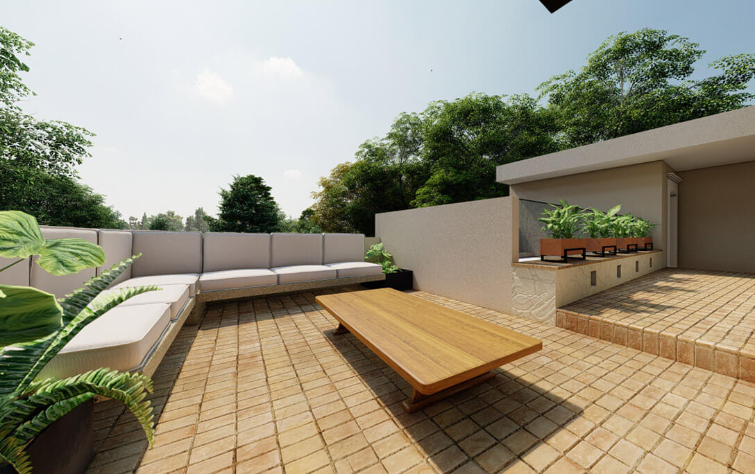 Mesa y sofá en terraza roof garden en el proyecto Padre Rubén, donde se realizó diseño de interiores con acabados campestres, por A4 Arquitectura