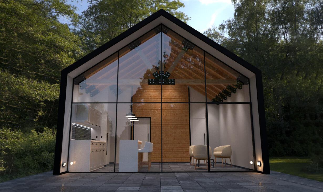 Árboles y fachada de cristal en Cabaña Chuveje, una serie de cabañas con acabado campestre, diseñada y construida por A4 Arquitectura