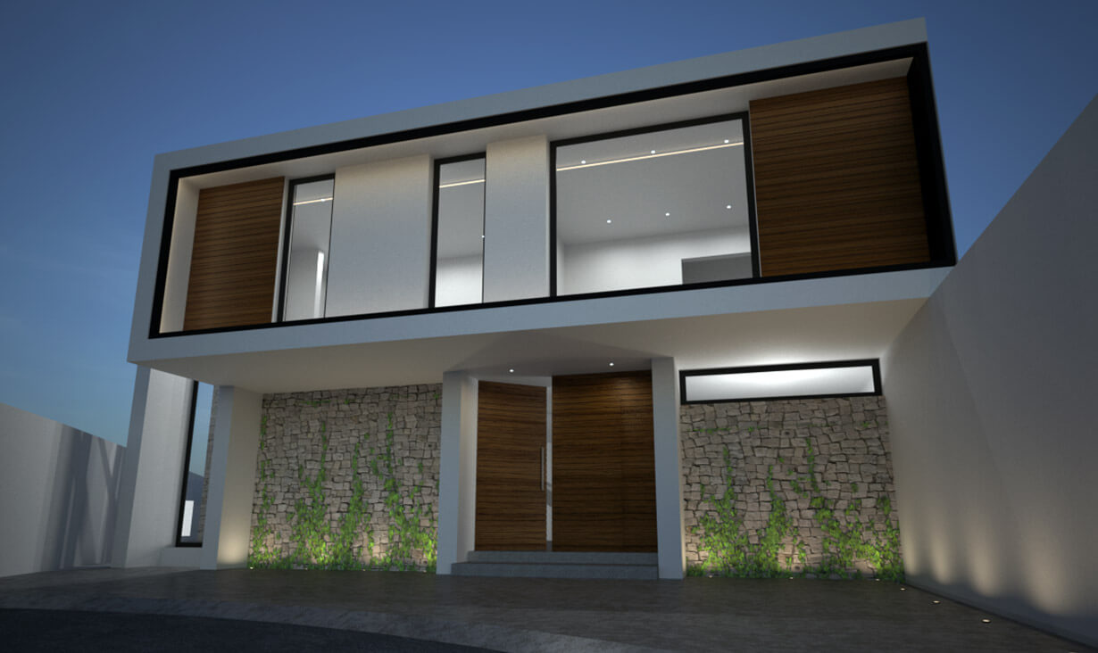 Fachada del proyecto Cañadas del Lago, una casa residencial con acabados minimalistas, diseñada y construida por A4 Arquitectura