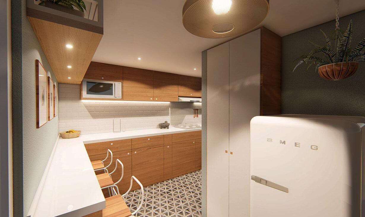 Refrigerador, sillas, encimera y muebles de Cocina Carretas, donde se realizó remodelación y diseño de interiores, por A4 Arquitectura