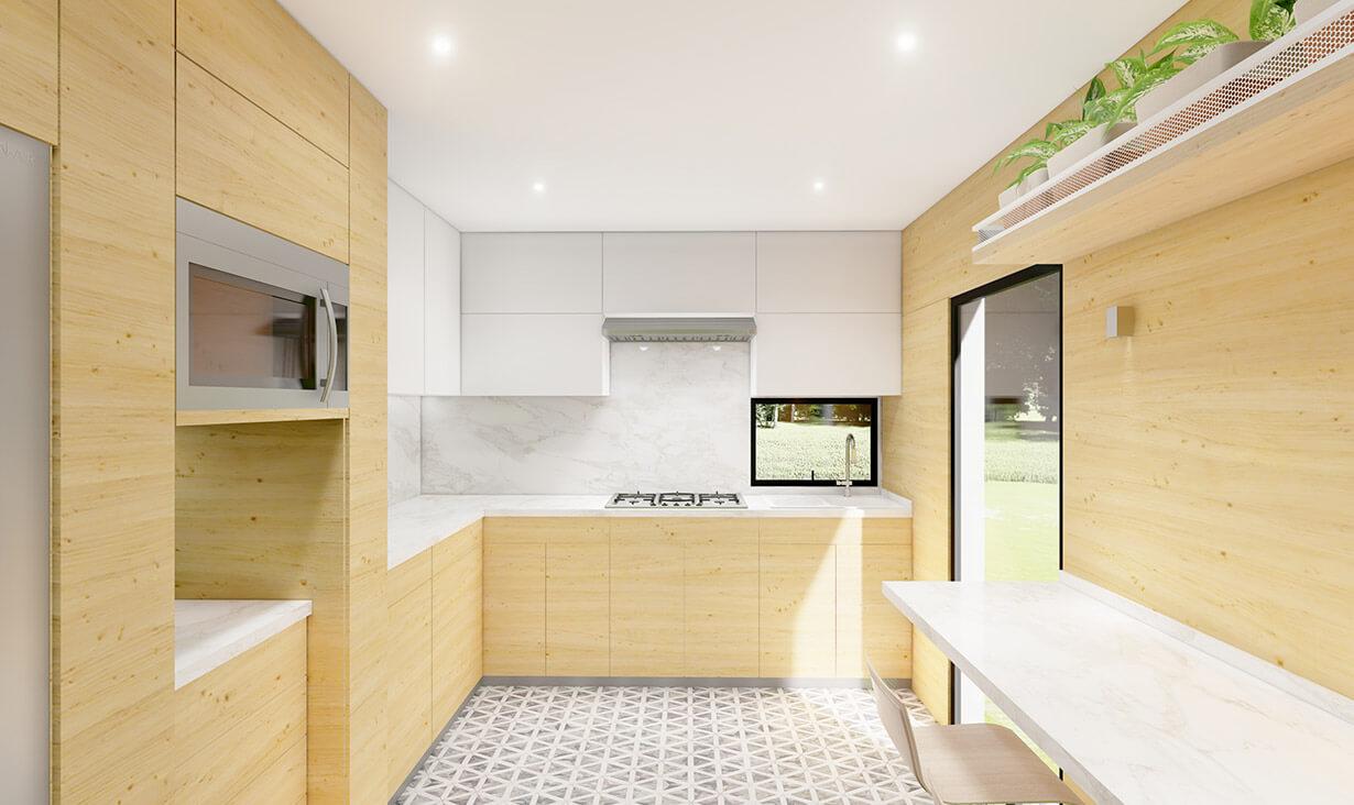 Techo, horno de microondas y muebles de Cocina La Vida, donde se realizó remodelación y diseño de interiores, por A4 Arquitectura