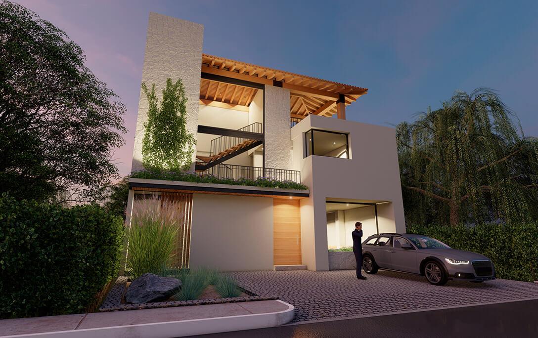 Vegetación y fachada del proyecto Humberto, una casa residencial con acabados minimalistas, diseñada y construida por A4 Arquitectura