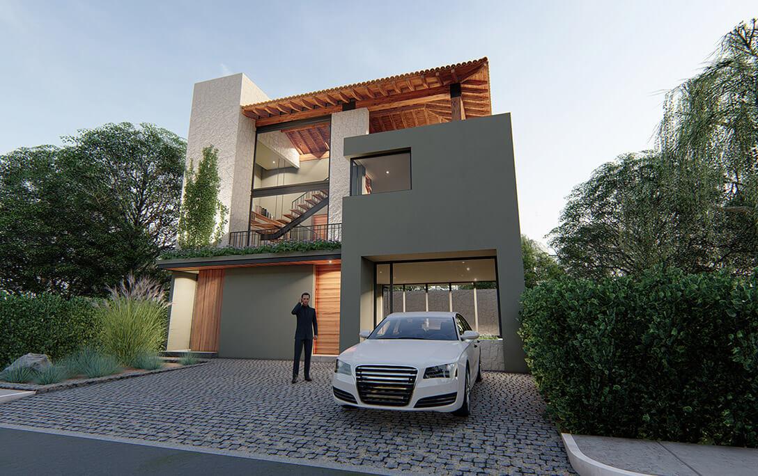 Vegetación y persona con auto en fachada del proyecto Humberto, una casa residencial con acabados minimalistas, diseñada y construida por A4 Arquitectura