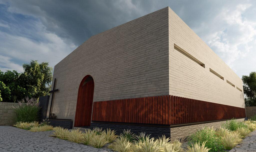Puerta de acceso y cruz, así como vegetación en fachada de la Iglesia Cristo Rey, edificio tipo auditorio, construido por A4 Arquitectura