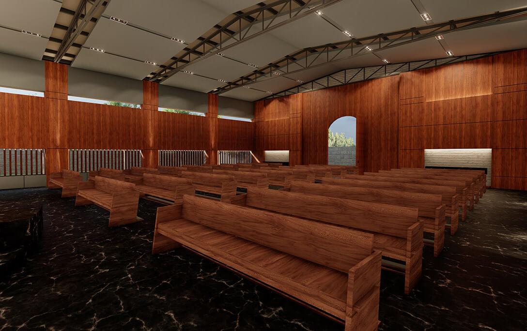 Bancas y diseño de interiores para la Iglesia Cristo Rey, con aspecto tipo auditorio y hecho de madera, construido por A4 Arquitectura
