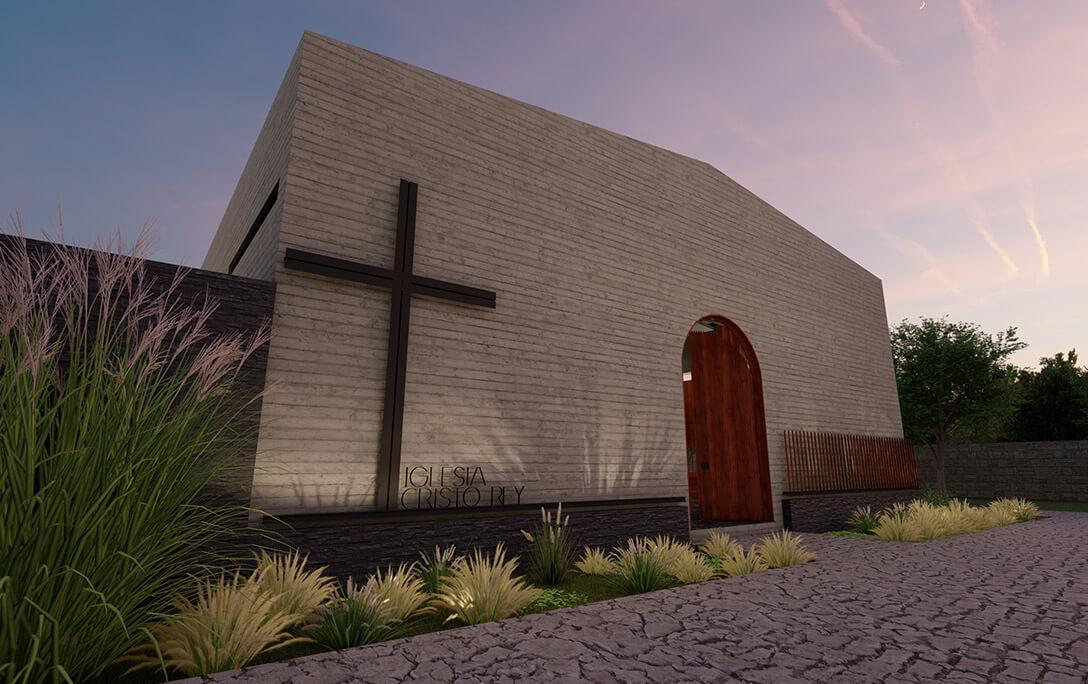 Puerta de acceso y cruz, así como planta en fachada de la Iglesia Cristo Rey, edificio tipo auditorio, construido por A4 Arquitectura