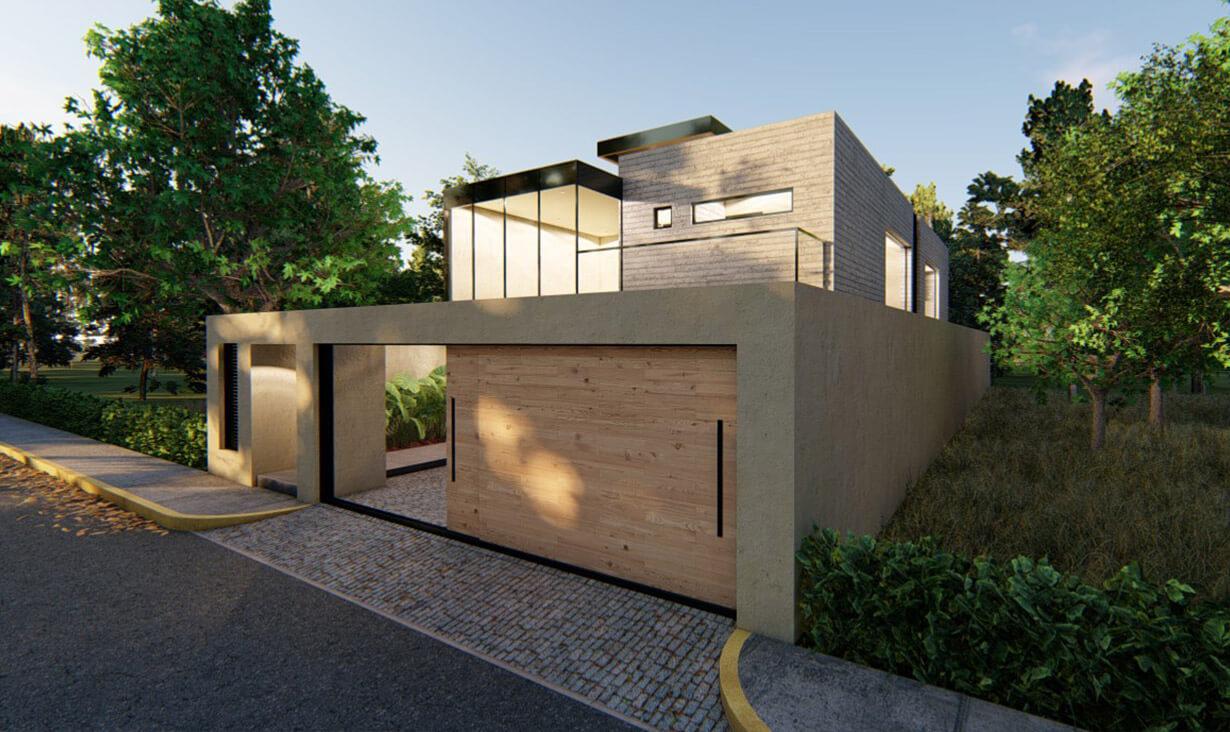 Vegetación, árboles y fachada del proyecto Mariano, una casa residencial con acabados minimalistas, diseñada y construida por A4 Arquitectura