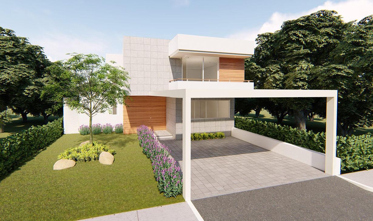 Jardín con arbustos y árboles, así como fachada del proyecto Privada Da Vinci, una casa residencial blanca con diseño minimalista, diseñada y remodelada por A4 Arquitectura