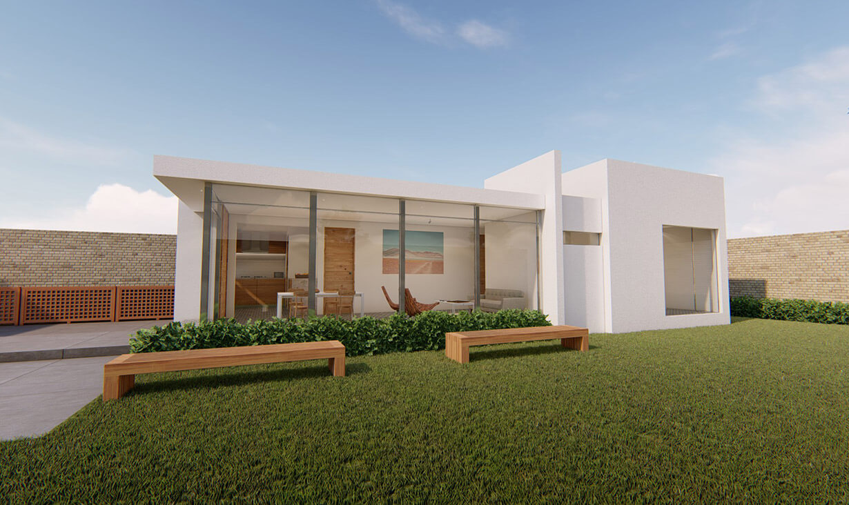 Jardín exterior con césped, bancas y fachada del proyecto Rosalía, una casa blanca con diseño de interior minimalista, diseñada y construida por A4 Arquitectura